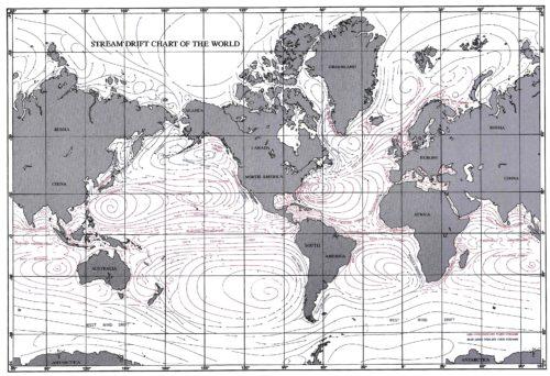 globale Karte aller Meeresstömungen der US Navy, 2004