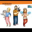 Plötzlich Wissen - comic der drei Wissenschaftler*innen mit Logo
