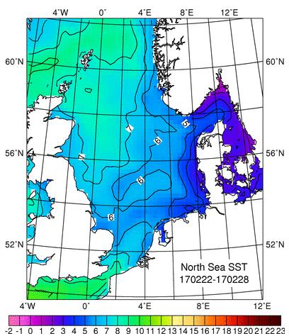 Oberflächentemperatur Nordsee